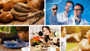 Mosaico de diferentes fotos relacionadas al gluten