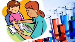 Espectro autista: imagen de una niña y muestras de sangre